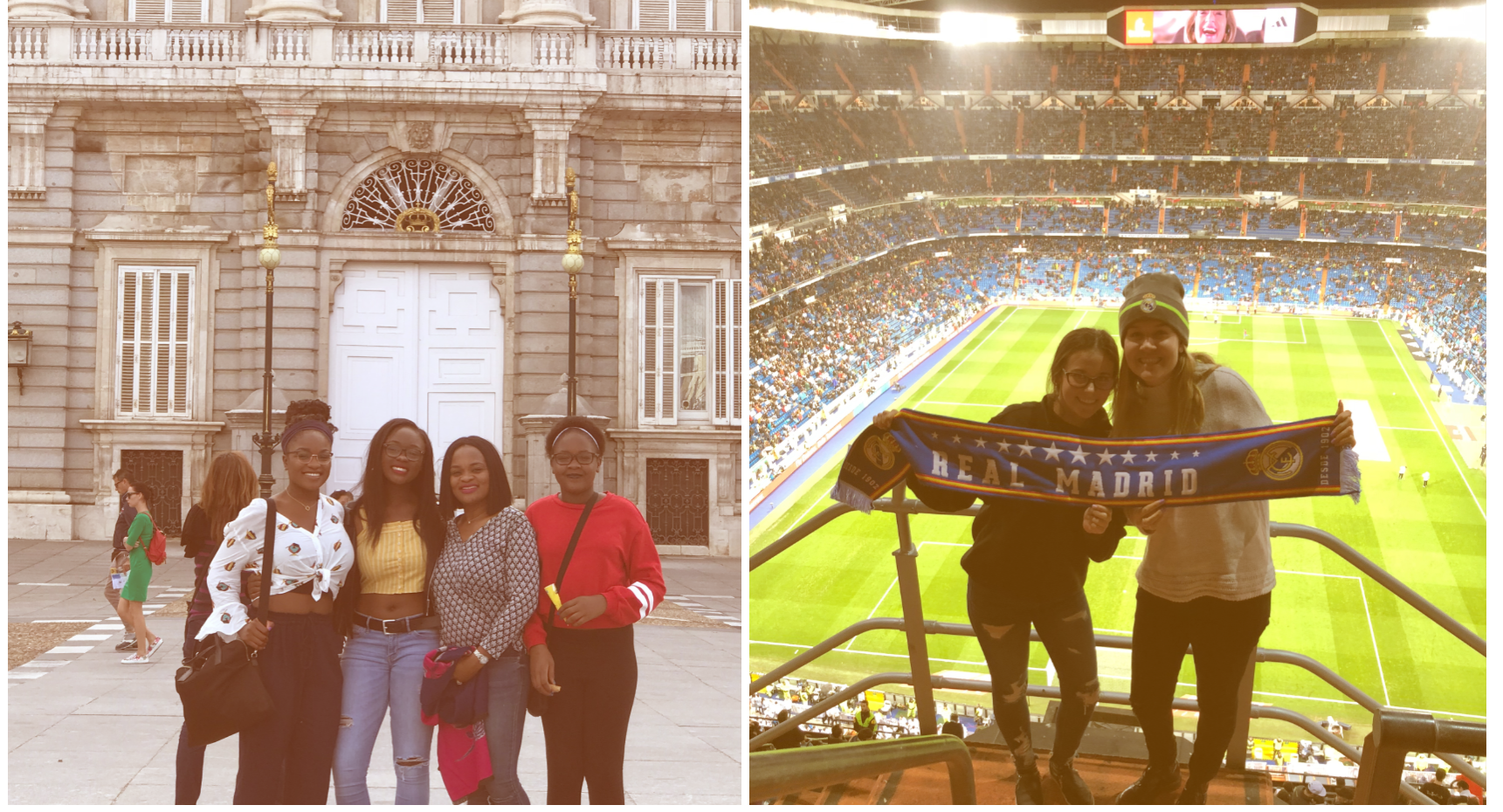 Images of students outside Royal Palace in Madrid and students at a Real Madrid soccer game