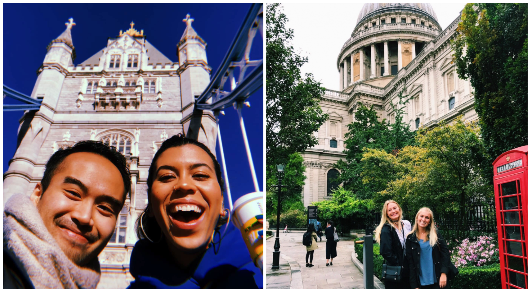 IES Abroad students outside of Tower Bridge and St Paul's Cathedral in London