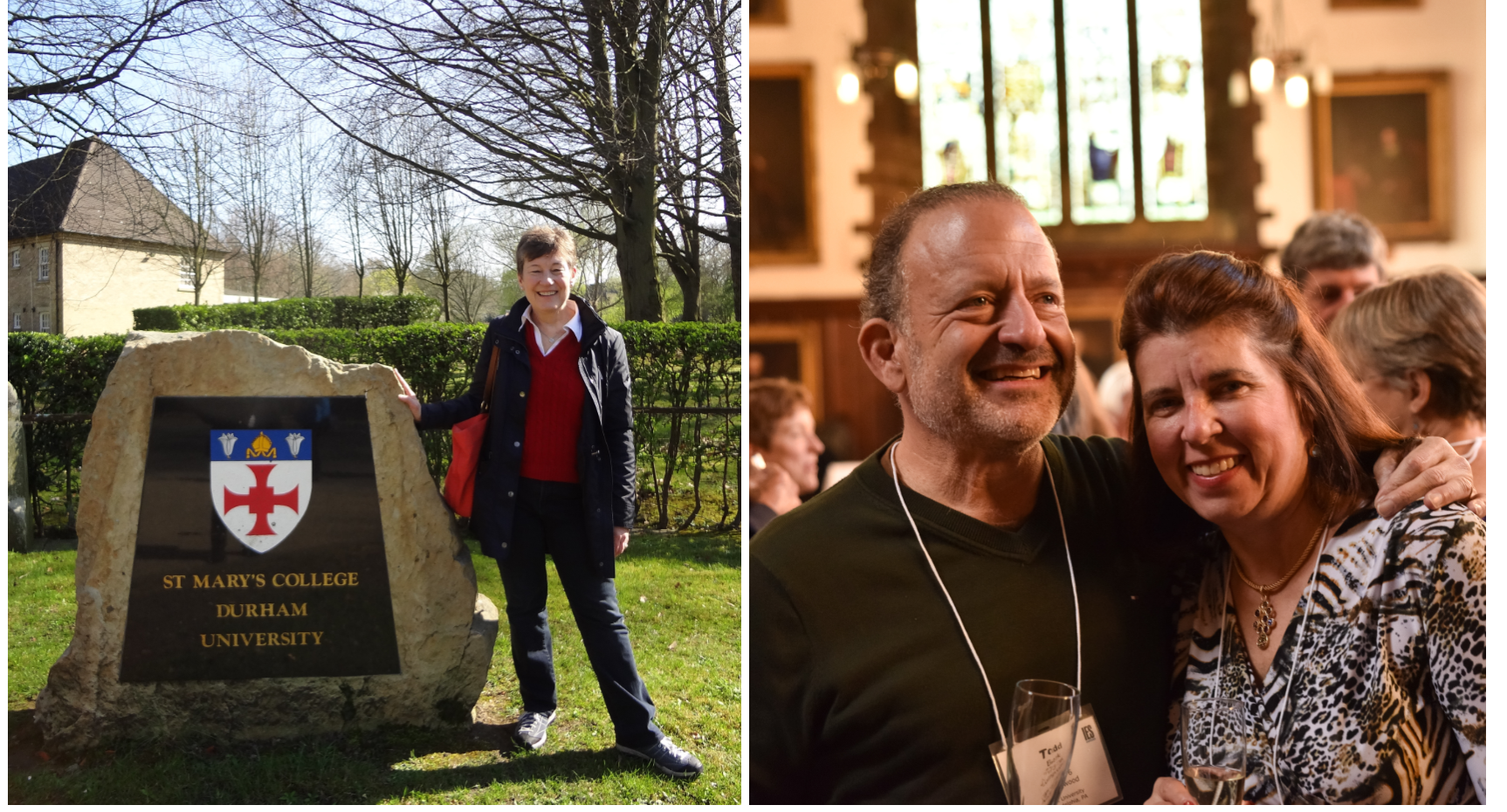 Alumni reuniting in Durham Castle and outside St Mary's College at 2017 Durham Alumni Weekend