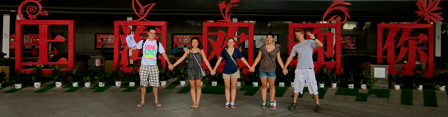 Students posing in China