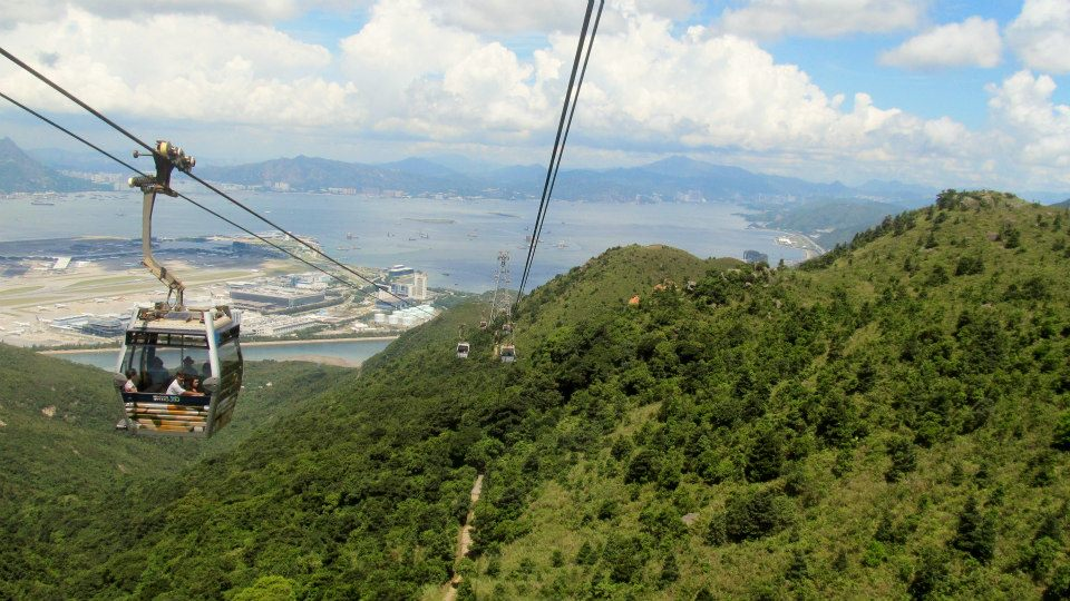 View from Ngong Ping 360 Gondola Lift up to Lantau Peak