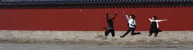 Students jumping in Beijing, China