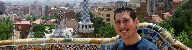 Student in Park Guell in Barcelona