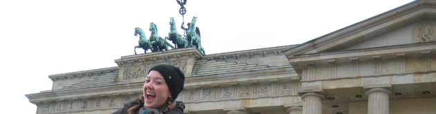 Student poses near Brandenburg Gate
