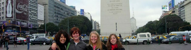 Students in the Plaza de la Republica in Buenos Aires