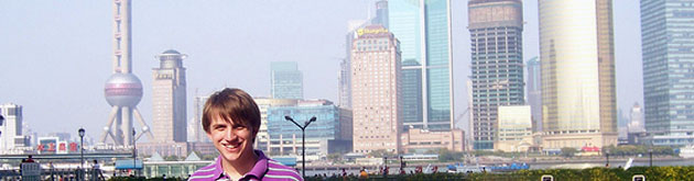 Student in front of the skyline in Shanghai