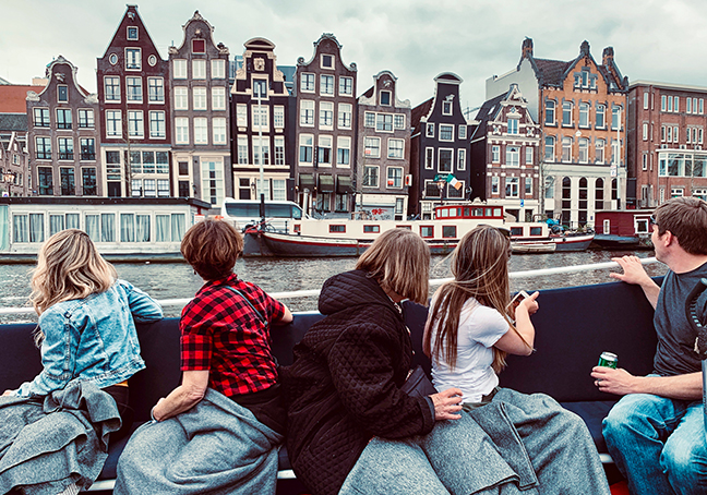 Students and Families on a Boat Tour