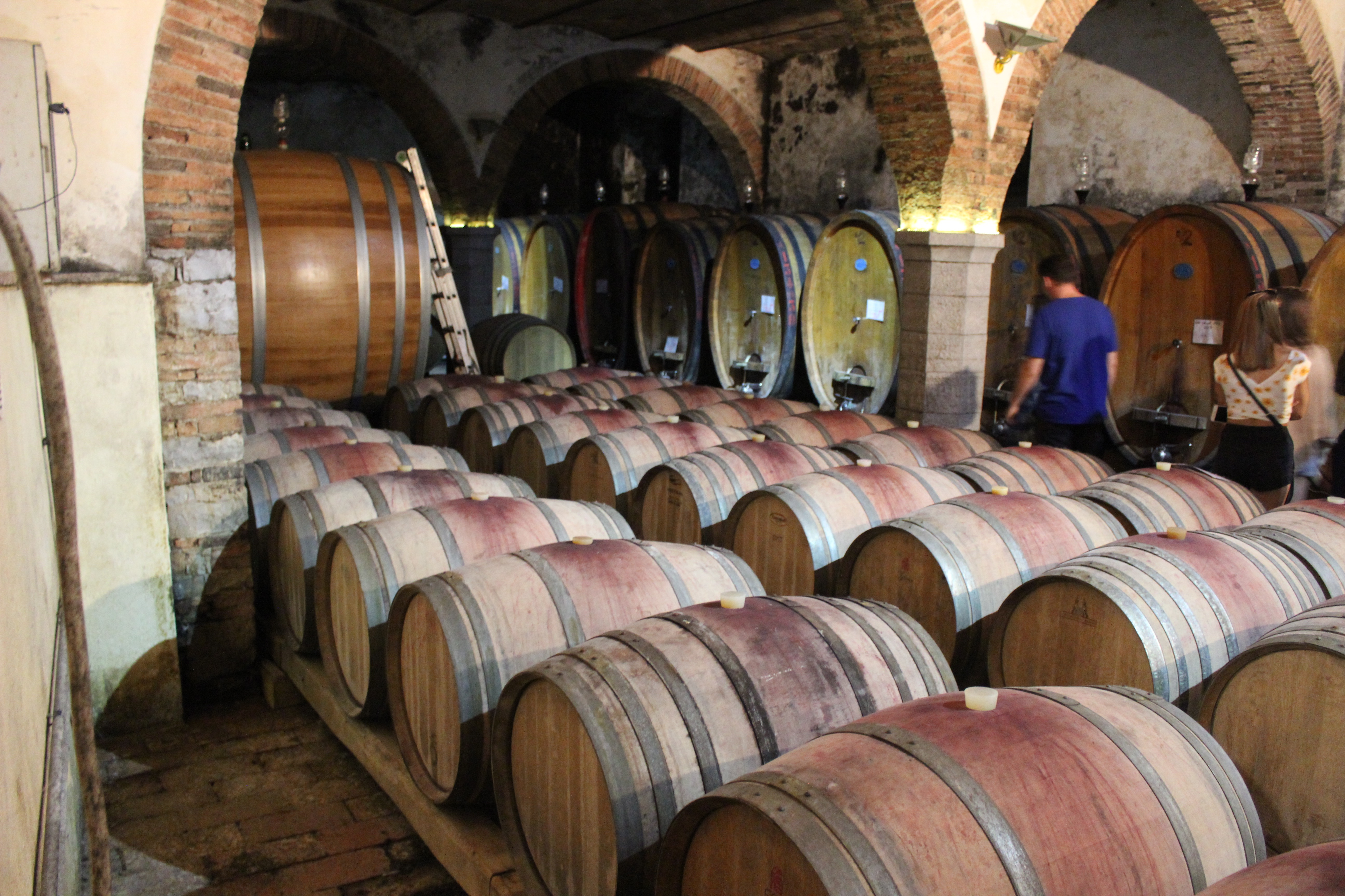 Oak barrels of varying sizes line the inside of the building