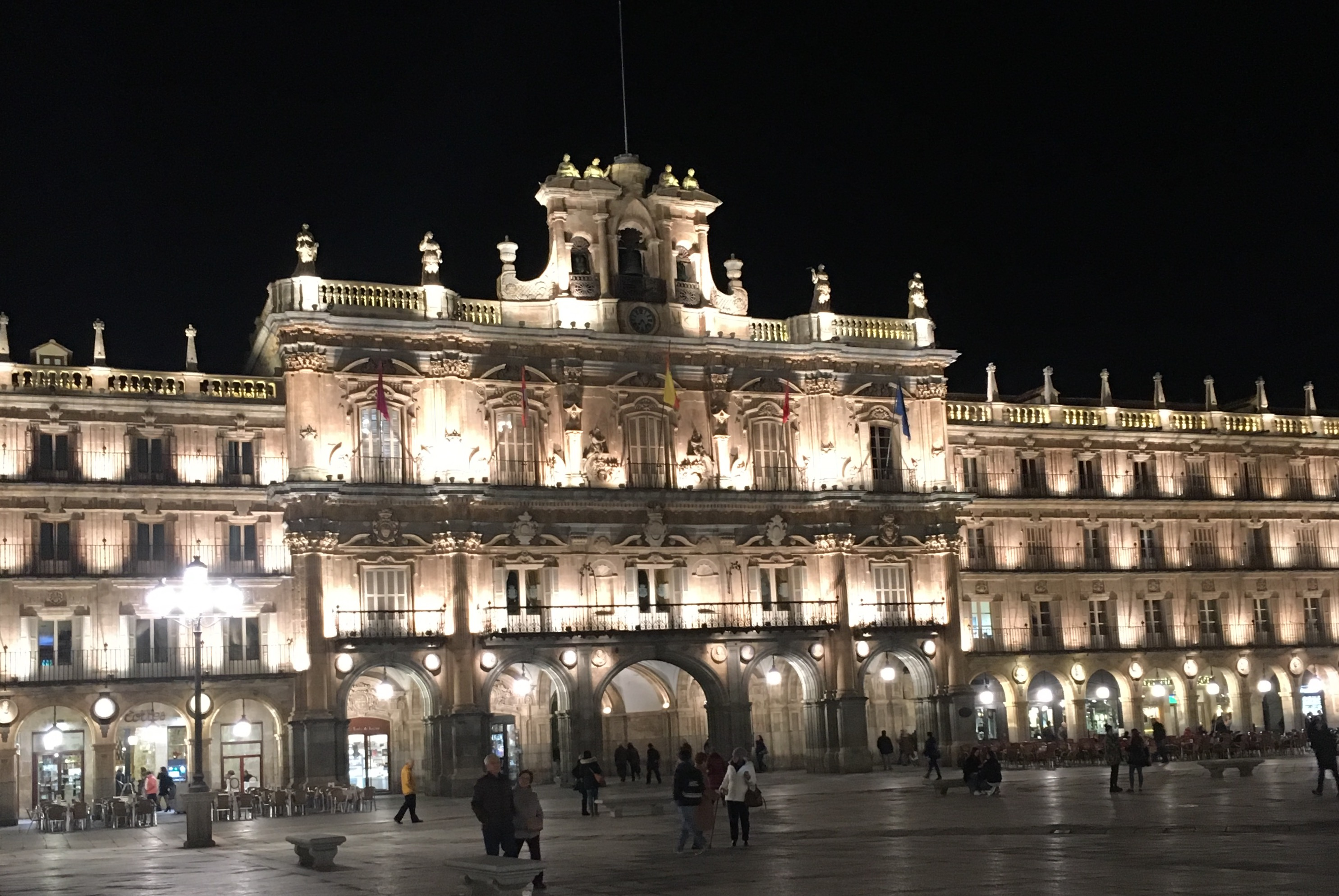 La Plaza Mayor of Salamanca at night.