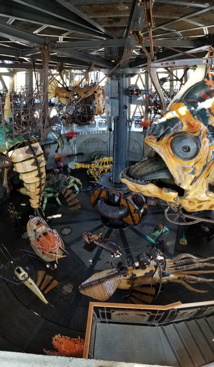 A carousel with various large marine animals