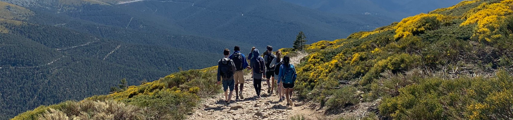 students walking down hill over-looking landscape