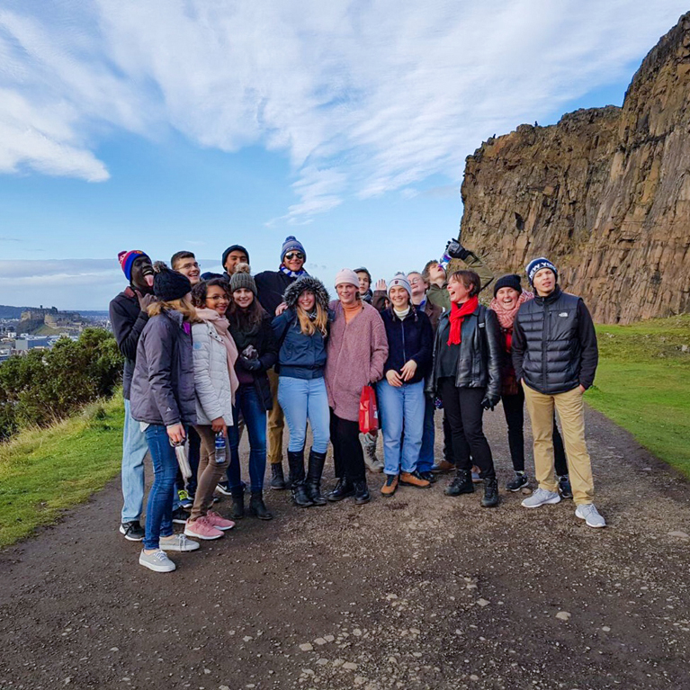Students and their Professor in the Hills in UK during their study abroad