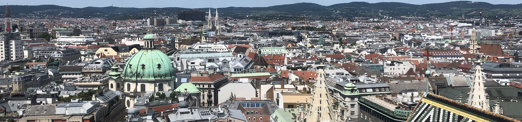 View of Vienna cityscape from above St. Stephens Cathedral