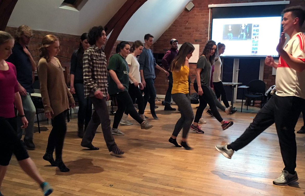 IES Abroad Dublin students learning how to do an Irish dance