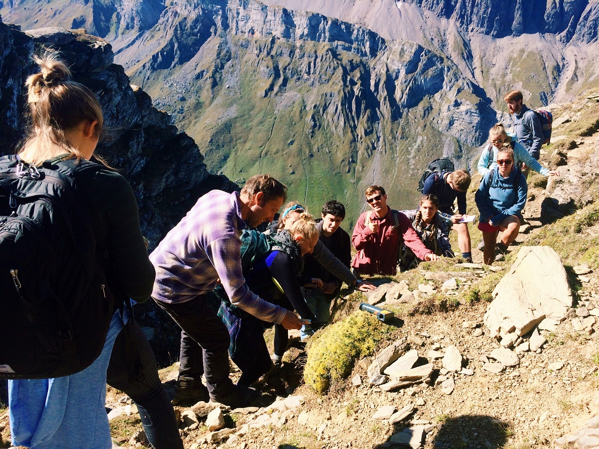 students with professor hiking in mountains in Germany