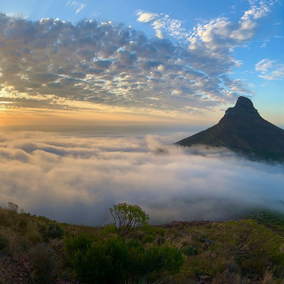 The tip of Lion's Head Mountain in Cape Town rising above the clouds at sunrise
