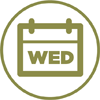 """green icon of a calendar flipped to """"WED"""""""