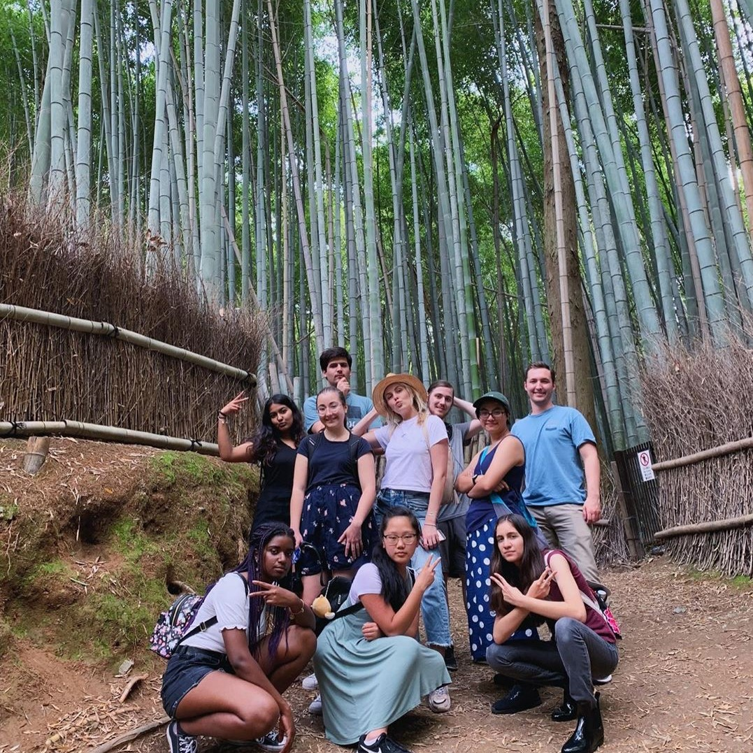 Group of study abroad students in Kyoto Bamboo Forest