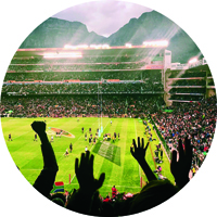 fans cheering at sports stadium in South Africa