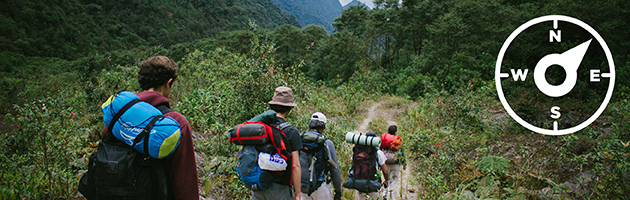 Students hiking on a backpacking trip