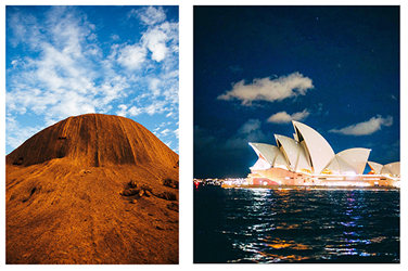 Two outdoor photos compared side by side of Australia