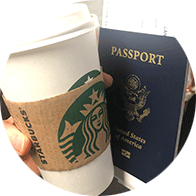 coffee cup and passport