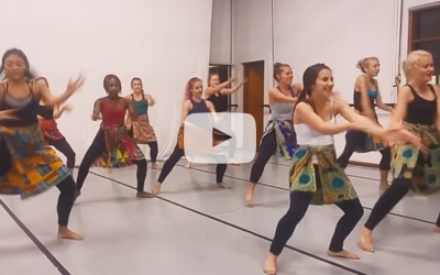 Students learning African dance at the University of Cape Town