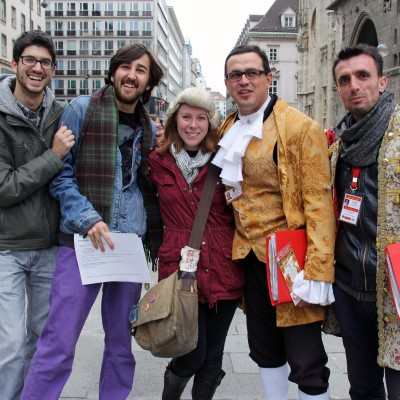 Group of study abroad students in costumes