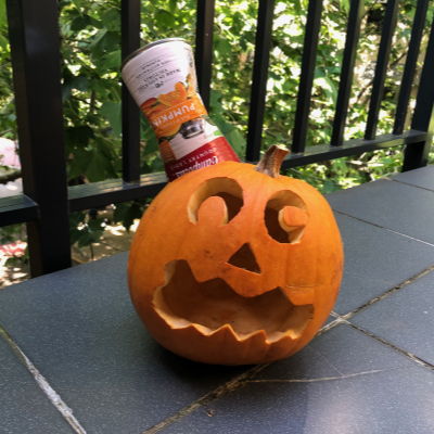 Jack o lantern with can in its head