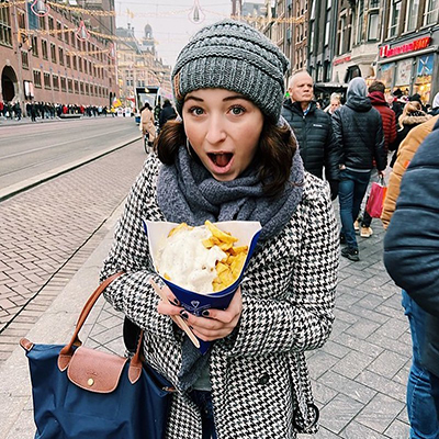 student in amsterdam with food