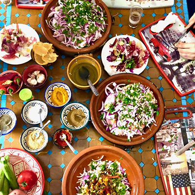 Aerial view of a table with spices and vegetables in Barcelona