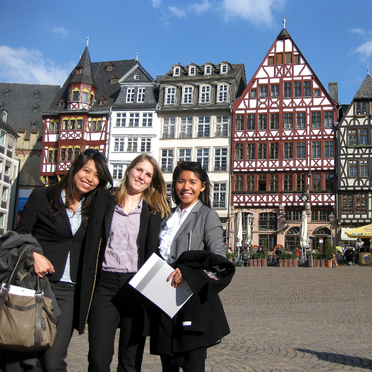 three ies abroad students in professional attire in amsterdam