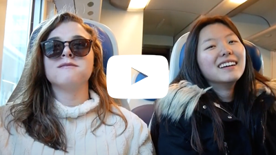 Two study abroad students on a train in Italy