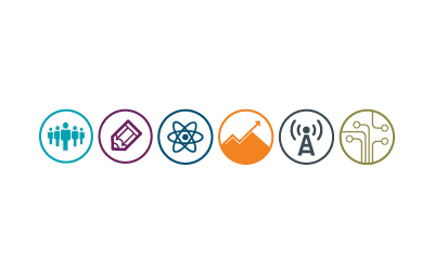 six colorful circle icons representing academic disciplines