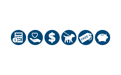 six blue circle icons representing financial aid