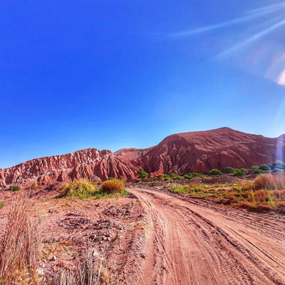The Atacama desert in Chile with blue sky