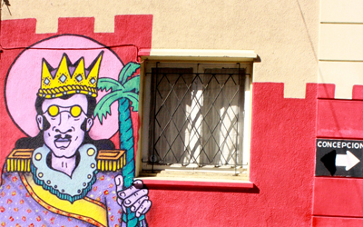Colorful street art in Santiago, Chile
