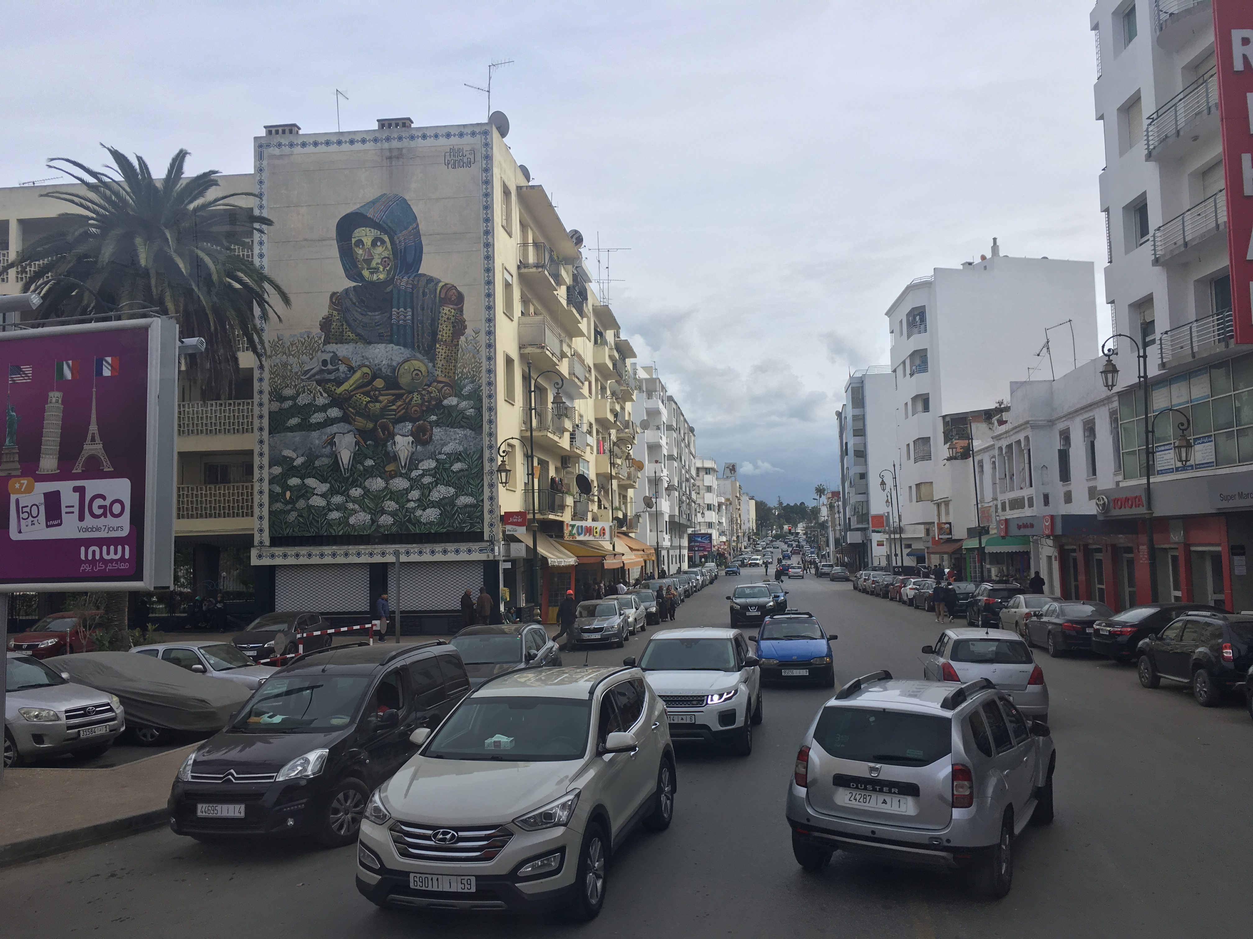 A busy street in the Hassan neighborhood of Rabat