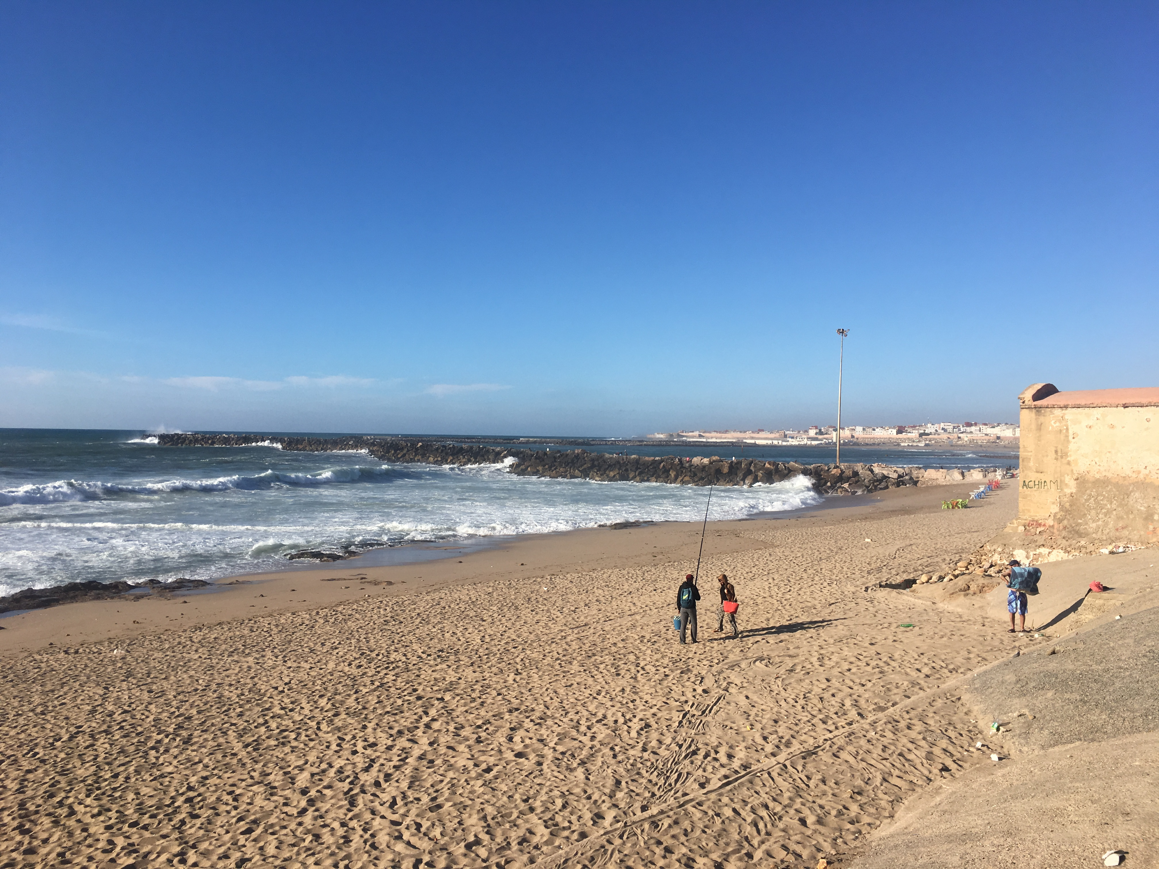 The Rabat beach in a rare deserted moment