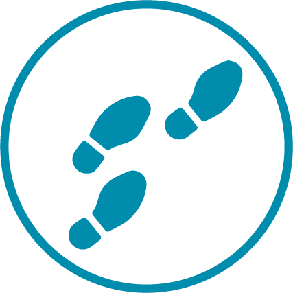 blue footsteps icon in a blue circle
