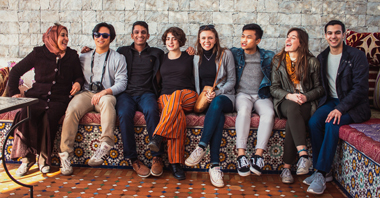 Students sit and laugh in Morocco