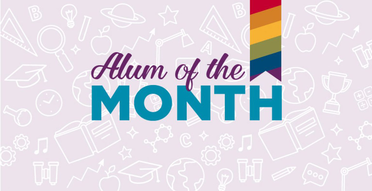 alum of the month graphic with purple background and rainbow ribbon