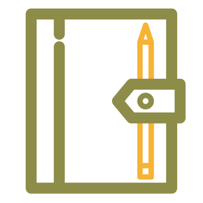 Journal and pencil icon