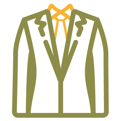 Suit jacket and bow-tie icon