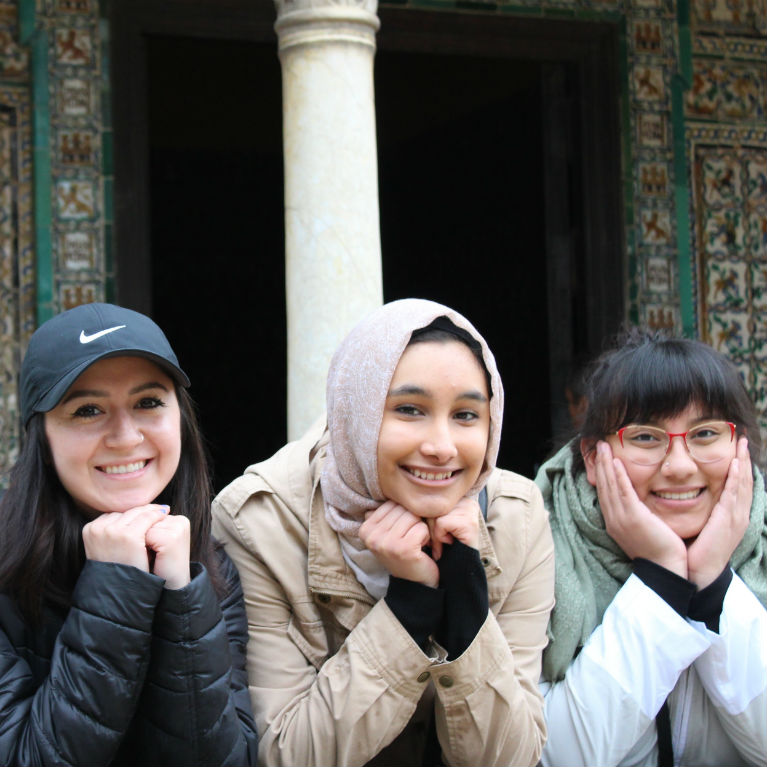 three IES abroad students