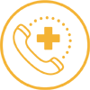 yellow icon of a telephone with a plus sign health symbol
