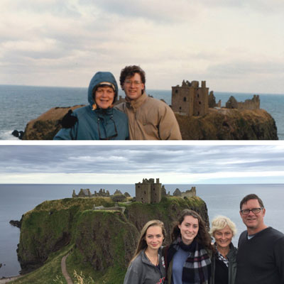 two similar photos of mother and son in front of castle, then same photo replicated of son with his own children