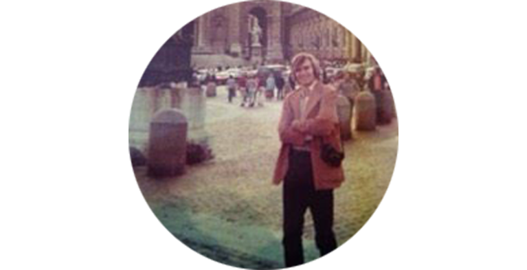 Steve Streich standing in brown leather jacket in Vienna in the early 1970s