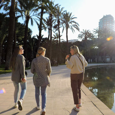 three students walking away and talking with palm trees behind them