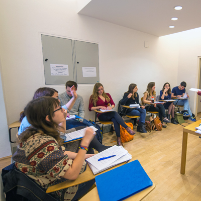 Vienna study abroad students at their desks in classroom